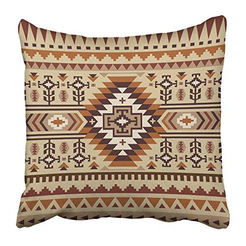 Fundas de cojín Marrón Navajo Diseño de patrón étnico Beige Tribal Abstracto Africano Antiguo Azteca Cultura 40X40 Cm Funda de cojín