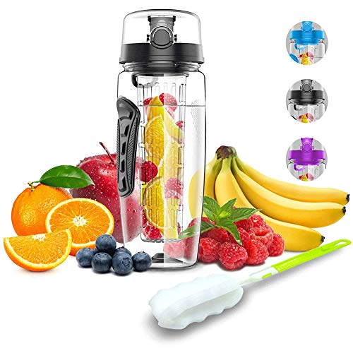 Cestbon Water Bottle With Fruit use 1L / 32oz Bottle Sports With Infuser cleaning brush closure carrying handles for fruit juice BPA-free,Clear