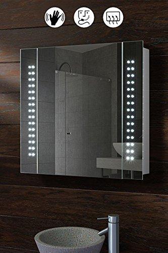 My-Furniture - Spiegel-Badezimmerschrank mit 60 LED-Beleuchtung, Bewegungssensor, Demistersystem und Rasiersteckdose - L / 650 x H: 600 mm - GALACTIC
