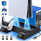 Kydlan PS5 Vertical Stand with Cooling Fan for PS5 Disc & Digital Editions, PS5 Stand with Cooling Fan and Controller Charger, Dual Controller Charging Station with 3 USB Hub &13 Game Storage