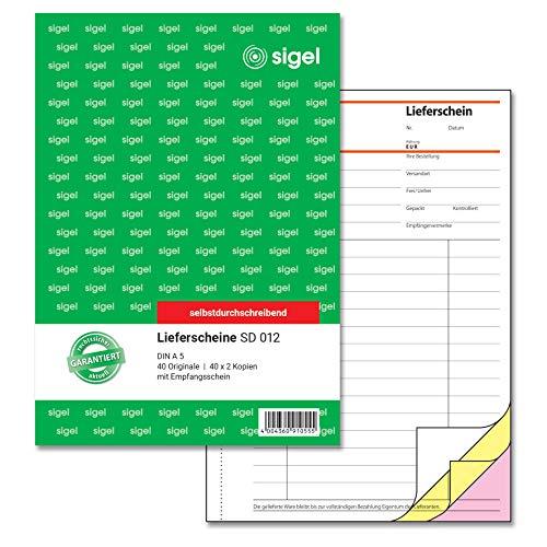 SIGEL SD012 Lieferscheine A5, 3x40 Blatt, selbstdurchschreibend, 1 Stück