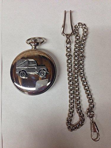 Land Rover Series 1SWB ref112Zinn Effekt Emblem Silber Poliert Fall Herren Geschenk Quarz Taschenuhr hergestellt in Sheffield