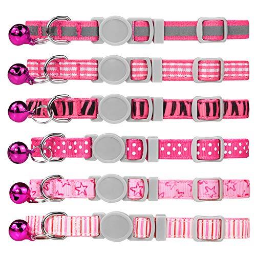 Dynmeow 6er Katzenhalsband mit Sicherheitsverschluss,Rosa Mischmuster Katze Halsband mit Katzenklingel
