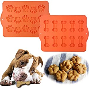 Bone and paw dog treat silicone mold set