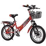 FUFU Bicicleta Plegable De 16-20 Pulgadas, Bicicleta para Niños, Marco De Acero De Freno De Dos Manos, 2 Colores (Color : Red, Size : 18in)