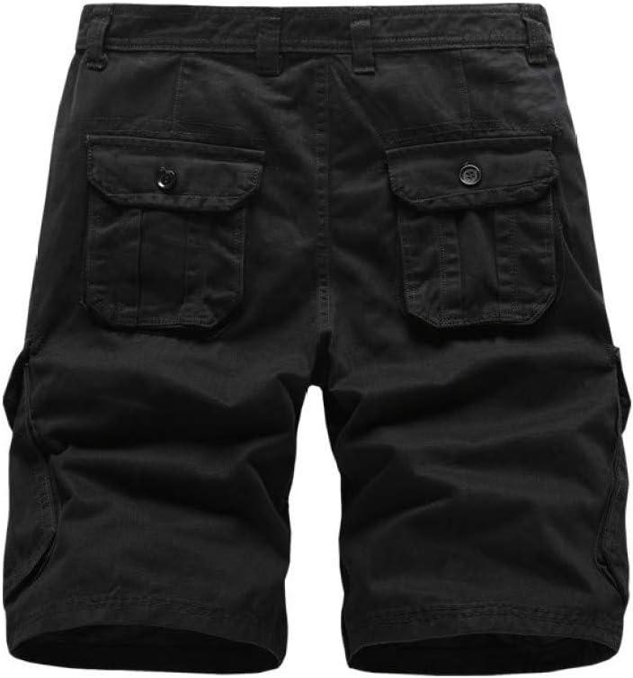 AGAOXING Short de Sport Short d'outillage, Pantalon d'été en Coton à Fermeture éclair pour Hommes JL28-Black