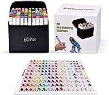 Pachock 60 color Arte Dibujo Marcadores de Punta Doble - Doble Cara Marcadores del Bosquejo del Rotulador