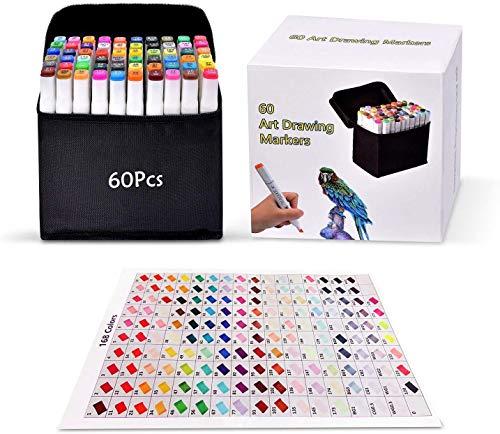 Pachock Graphic Marker Pens, 60 Colors Dual Tips Permanent Marker Pens Art...