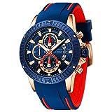 Relojes para Hombres, Mini Focus Analógico de Cuarzo Reloj Impermeable Deportivo cronógrafo Correa de Cuero Fecha para Regalo (Azul 3)
