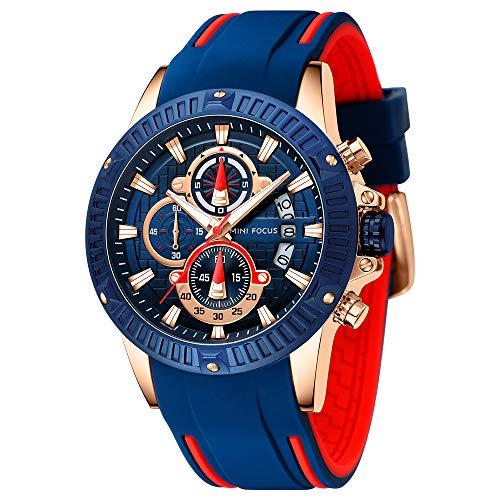 Montres Hommes,Mini Focus Multifonction Sport Quartz 30m étanche Classique analogique Chronographe avec Acier Inoxydable Bracelet Bleu (Bleu 2)