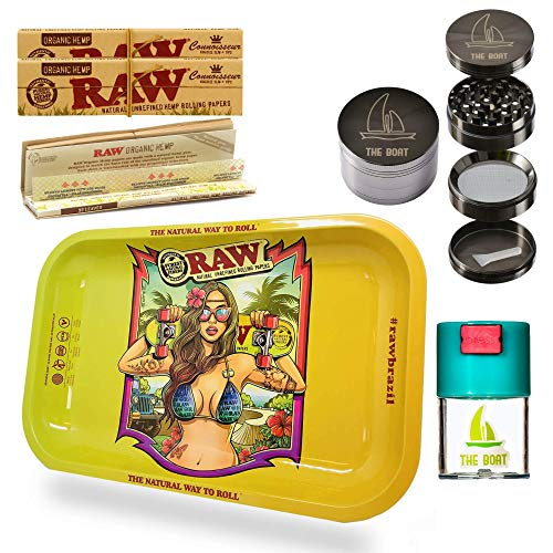 Imagen del productoKit para fumar Raw bandeja para liar Brazil pequeña 27,5cm x 17,5cm + RAW Organic Connoisseur Kings Size (3 unidades) + Bote hermético antiolor + Grinder THE BOAT 4 partes con rascador.