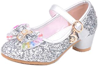 通用 HB Girls Princess Ballet Shoes Plat Glitter Low Heel Dance Party Shoes for Dress