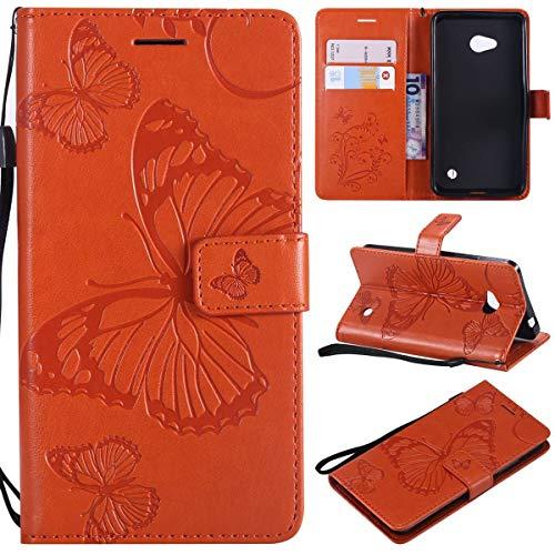 Sangrl PU-Leder Hülle Für Microsoft Lumia 640 Dual-SIM, 3D Butterfly Flip Schale Brieftasche Mit Bracket-Funktion Kartenfächer Wallet Hülle Tasche Für Microsoft Lumia 640 Dual-SIM - Orange