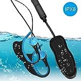 Huadun IPX8 - Lettore musicale subacqueo per nuoto, cuffie impermeabili con ganci per le orecchie, 8 GB, MP3 con clip sportiva per surf, immersioni (nero)