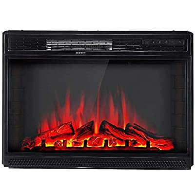 """AMERLIFE Electric Fireplace Insert 28"""" -Freestanding Electric Fireplace Heater with Remote Control & Recessed fireplaces, 750/1500W, Black"""