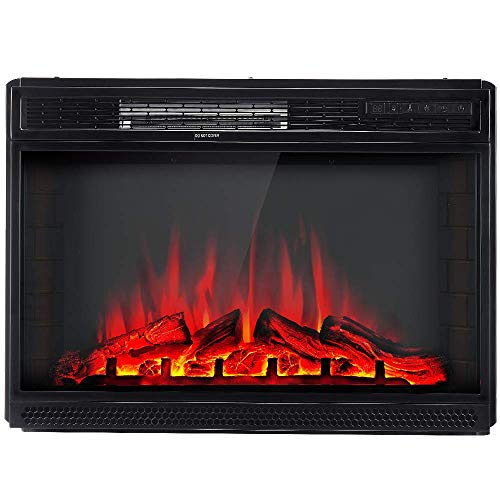 "AMERLIFE Electric Fireplace Insert 28"" -Freestanding Electric Fireplace Heater with Remote Control & Recessed fireplaces, 750/1500W, Black"