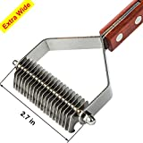 Pet Grooming Undercoat Rake, Dematting Tool, Combs with 20-flades, MeetWin Ideal Stripper for Cats, Dogs,Pets, Stainless Steel Blade Combines Solid Wooden Handle