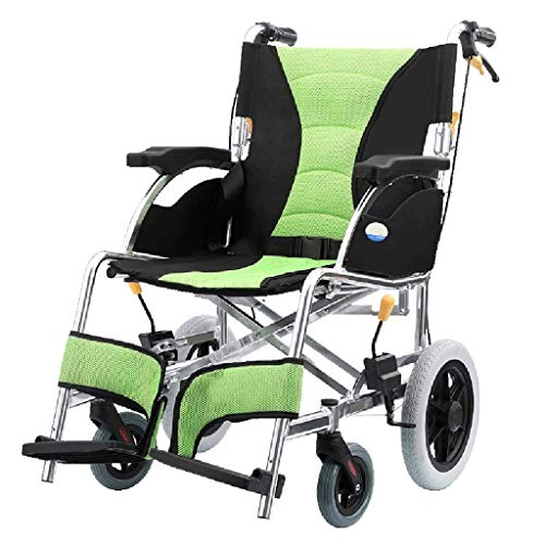ZHAS Älterer Rollstuhl Falten, Leichtes Aluminium Rollstuhl, ältere Menschen Reisen im Flugzeug Tragbarer Rollstuhl, Gemütlich Alten- Und Behinderte Transport Stuhl, Grün