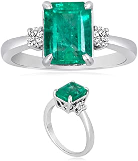 Vogati 0.20 Cts Diamond & 2.62 Cts Emerald-Cut Natural Emerald Three Stone Ring in Platinum