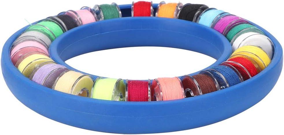 CjnJX-Vases Caja de Almacenamiento de bobinas de Costura de 24 Piezas, Soporte de Bobina de Silicona, Anillo Redondo, Caja de Costura Ligera compacta, contenedor de Ahorro