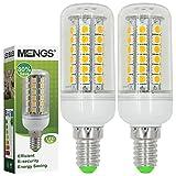MENGS® Pack de 2 Bombilla lámpara LED 7 Watt E14, 48x 5050 SMD, blanca fría 6500K, AC 220-240V