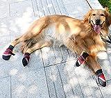 VIZAUZIE Scarpe per Cani Impermeabile Stivali Antiscivolo Catarifrangente per Piccolo Medie O Grandi Cani Animale 4 Pezzi Rossa M