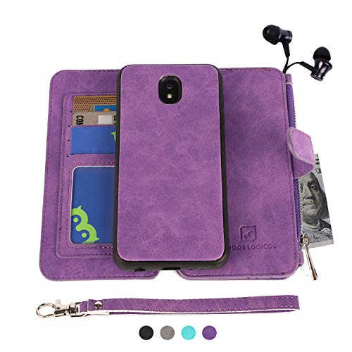 MODOS LOGICOS Samsung Galaxy J7 2018 Case, [Detachable Wallet Folio][2 in 1][Zipper Cash Storage][Up to 14 Card Slots 1 Photo Window] PU Leather Purse with Removable Inner Magnetic TPU Case - Purple