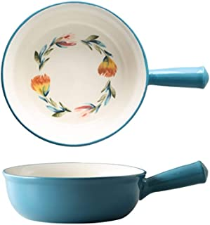 Bakeware 7.5 Inch With Handle Baking Bowl Baking Pan Ceramic Bowl Hand-painted Salad Soup Noodle Baked Rice Baking Pan Are...