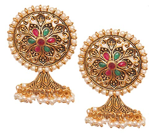 Pahal Ethnic Multicolor Kundan Floral Round Big Oxidized Gold Jhumka Earrings Indian White Pearl Bollywood Jewelry for Women