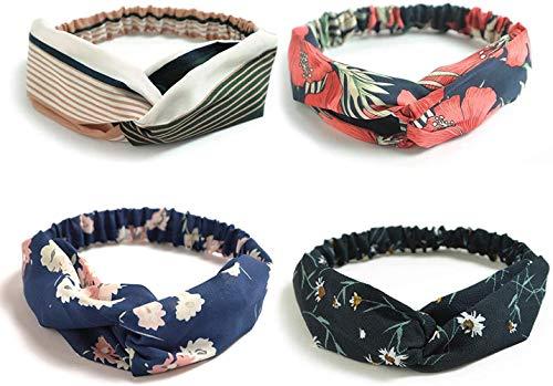 Sgualie 4 Pack Headbands Elastic Criss Cross Head Wrap Hair Band Cute Hair Accessorie,4 Pack Cross Chiffon Retro