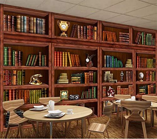 Custom Wallpaper 3D Mural Living Room Bookshelf Bookcase Decorative Painting Background Wall Living Room Wallpaper-250Cmx175Cm