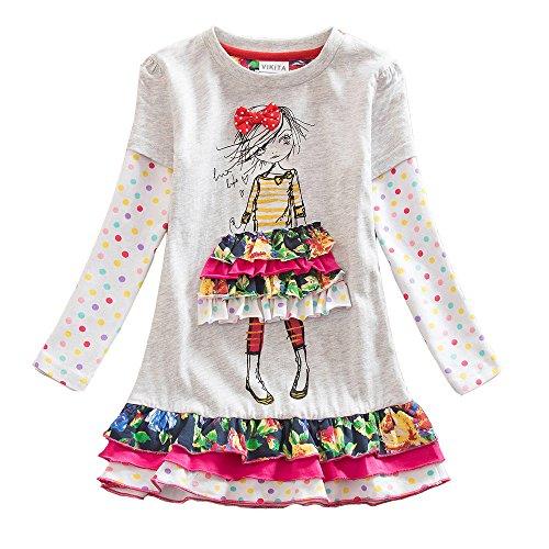 Neat Mädchen Blumen Langarm Baumwolle Kleid, 6-7 Jahre=116cm-122cm, LH3660Gray 7T