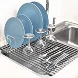 iPEGTOP Roll Up Dish Drying Rack with 304 Stainless Steel Plates Holder Pot Lid Organizer, Over the Sink Kitchen Foldable Multipurpose Dish Drainer Rack for Fruits Vegetable,16.9' x 12.6'