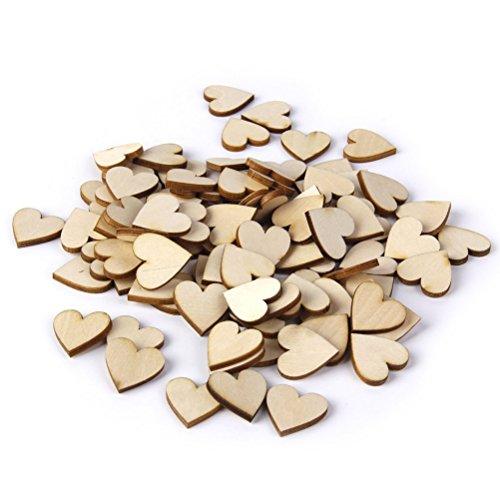 Pixnor 100 discos de madera de 20 mm para troncos de madera natural de corteza de árbol, mesa de centro de mesa decorativa para boda, forma de corazón