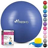 TRESKO Anti-Burst Gymnastikball 55cm 65cm 75cm 85cm | Sitzball | Yogaball | 300 kg | mit Luftpumpe (Indigoblau, 75cm (für Körpergröße 175-185cm))