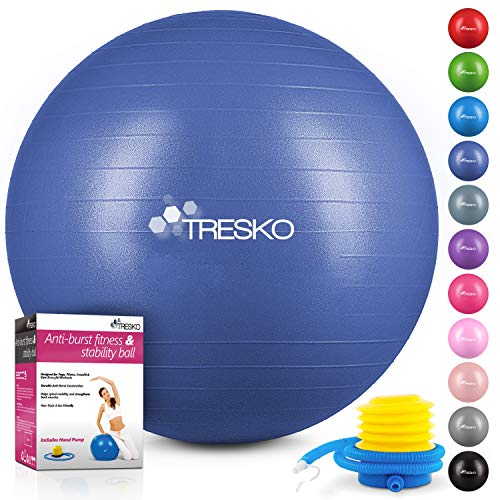 TRESKO Anti-Burst Gymnastikball 55cm 65cm 75cm 85cm | Sitzball | Yogaball | 300 kg | mit Luftpumpe (Indigoblau, 65cm (für Körpergröße 155-175cm))