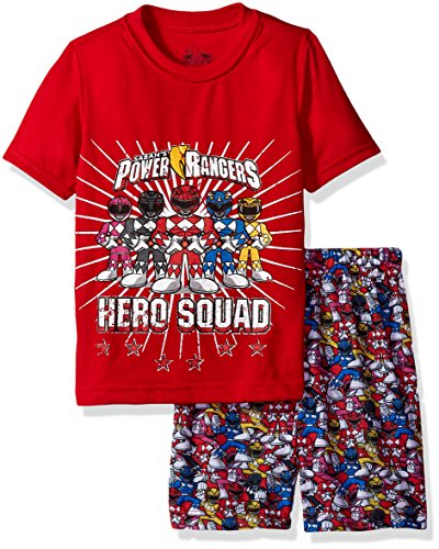 Power Ranger Boys' Big Hero Pajama Short Set, red, 10/12