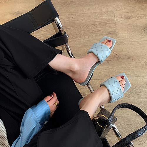 Treslin Zapatillas cuadradas de Verano Con cabeza cuadrada y palabra tejida para Mujer, Con Sandalias nuevas de Fondo Plano, Talla Grande 41 UNO 43-41_Azul