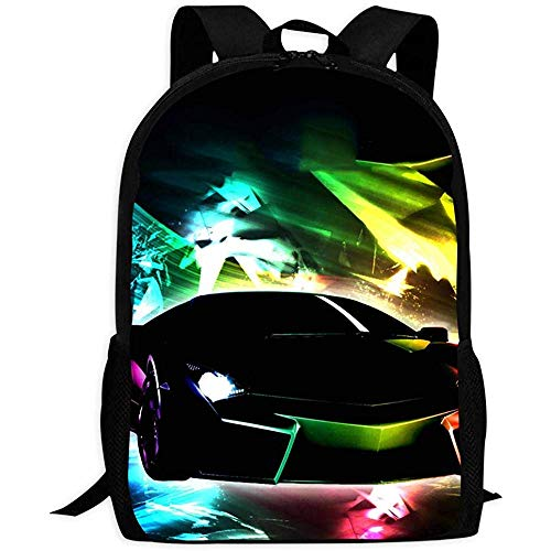 Bookbag,Neon Lights Lam-Borghini Lightweight Adult Bags For Climbing Hiking Travelling