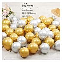 バルーン 10ピース5インチシルバーゴールドゴールドの金属製のラテックス風船真珠の金属球の球の結婚式の誕生日パーティーの供給 (Ballon Size : 5inch, Color : Gold)