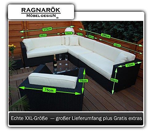 Ragnarök-Möbeldesign PolyRattan Lounge DEUTSCHE Marke - EIGNENE Produktion - 7 Jahre GARANTIE Garten Möbel incl. Glas und Polster (schwarz) Gartenmöbel - 7