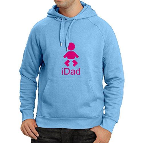 Lepni.me Sweatshirt à Capuche Manches Longues iDad Meilleur Papa de Tous Les Temps, Cadeaux de fête des pères pour Lui (Large Bleu Magenta)
