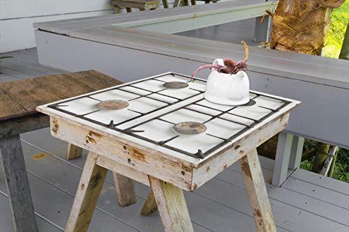 Wallario Aufkleber Selbstklebende Garten-Tisch-Decke - Alter Gasherd, ungeputzt und dreckig in 80 x 80 cm