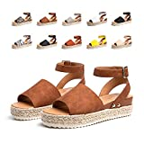 Sandalias Mujer Verano Plataforma Alpargatas Esparto Cuña Zapato Punta Abierta HebillaComodas Marrón Talla 39 EU