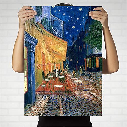 wZUN Decoración del hogar impresión Lienzo Arte Cuadro de Pared Pintura Cartel Pintado terraza de café holandés en la Noche 50x70 Sin Marco