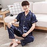 HIUGHJ Pijamas Nuevos Pijamas de Seda para Hombres Pantalones de Pijama de Seda Natural, Conjuntos de Manga Larga, 2 Piezas, Pijama Masculino