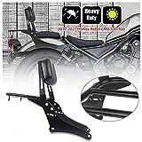 Motocicleta Acero negro Sissy Bar Sissybar Asiento trasero del pasajero Respaldo Portaequipajes Adaptador para Hon-da Rebel CMX 500 300 CMX500 CMX300 Accesorios 2017 2018 2019 2020 2021 17-21 (No.2)