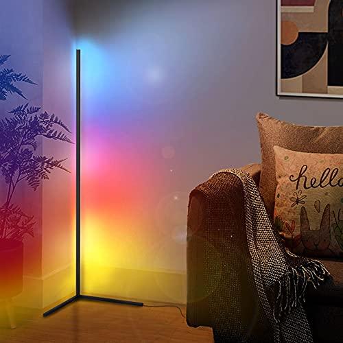 Lámpara de pie LED regulable con APP y mando a distancia para salón, compatible con Alexa & Google Home, moderna lámpara de pie con cambio de color RGB para salón, dormitorio, oficina
