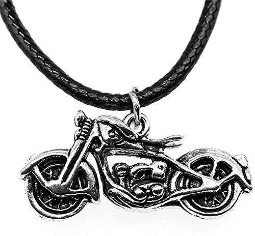 Liuqingzhou Co.,ltd Collar de plata antigua 34x16x8mm 3D motocicleta colgante cuero cadena collar para la vendimia