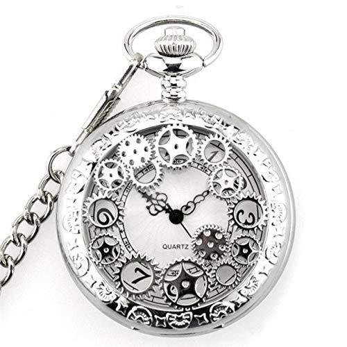 FMXKSW Reloj de Bolsillo Steampunk Liso único para Hombre con Cadena Fob Nacklace Relojes de Cuarzo de Moda para Hombre y Mujer Regalo, Gear Silver
